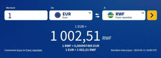 taux de change euros francs rwandais